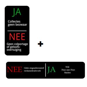 combinatie JA Nee verkoop & JA NEE reclame
