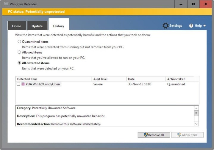 windows defender history screen