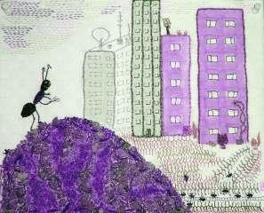 Fritt broderi i lila med titeln Lila boningar för myror och människor