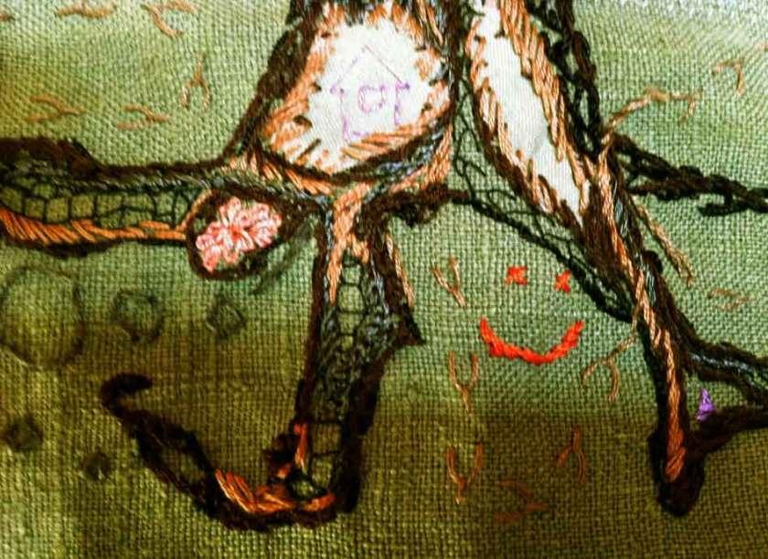 Underjorden, Fritt broderi detalj