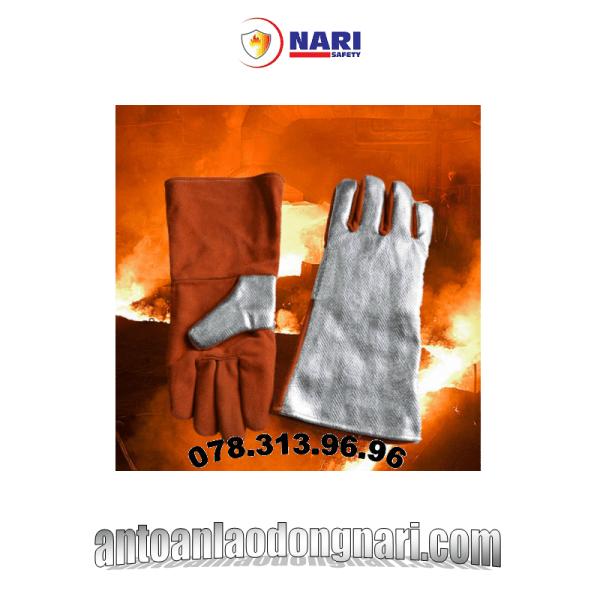 găng tay chống cháy tráng nhôm 1500 độ, chống cắt