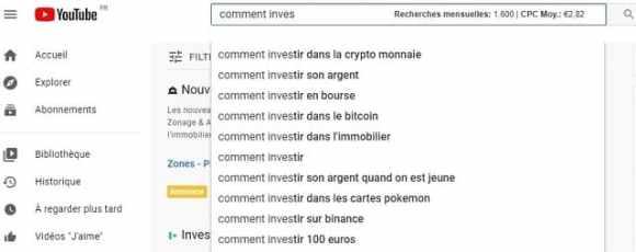 exemple d'une recherche de mots-clés sur YouTube