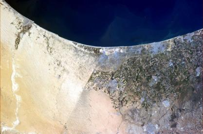 Borders separating Egypt, Israel, and the Gaza Strip. Photograph taken by astronaut Chris Hadfield aboard the ISS.