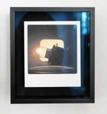 auto light on, 12 v tail-light, holder and wires, as seen through 20th C slide viewer