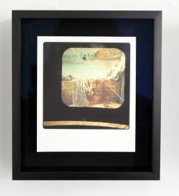 queen of Angels, 19th C glass lantern slide, broken, as seen through 20th C slide viewer