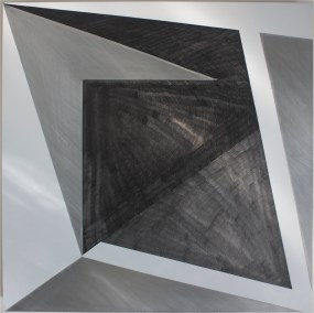 The Seam 2016, Enamel, graphite, aluminium, 600 x 600 mm