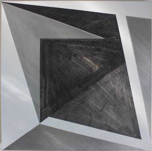 The Seam 2016, Enamel, graphite, aluminium, 600 x 600 mm