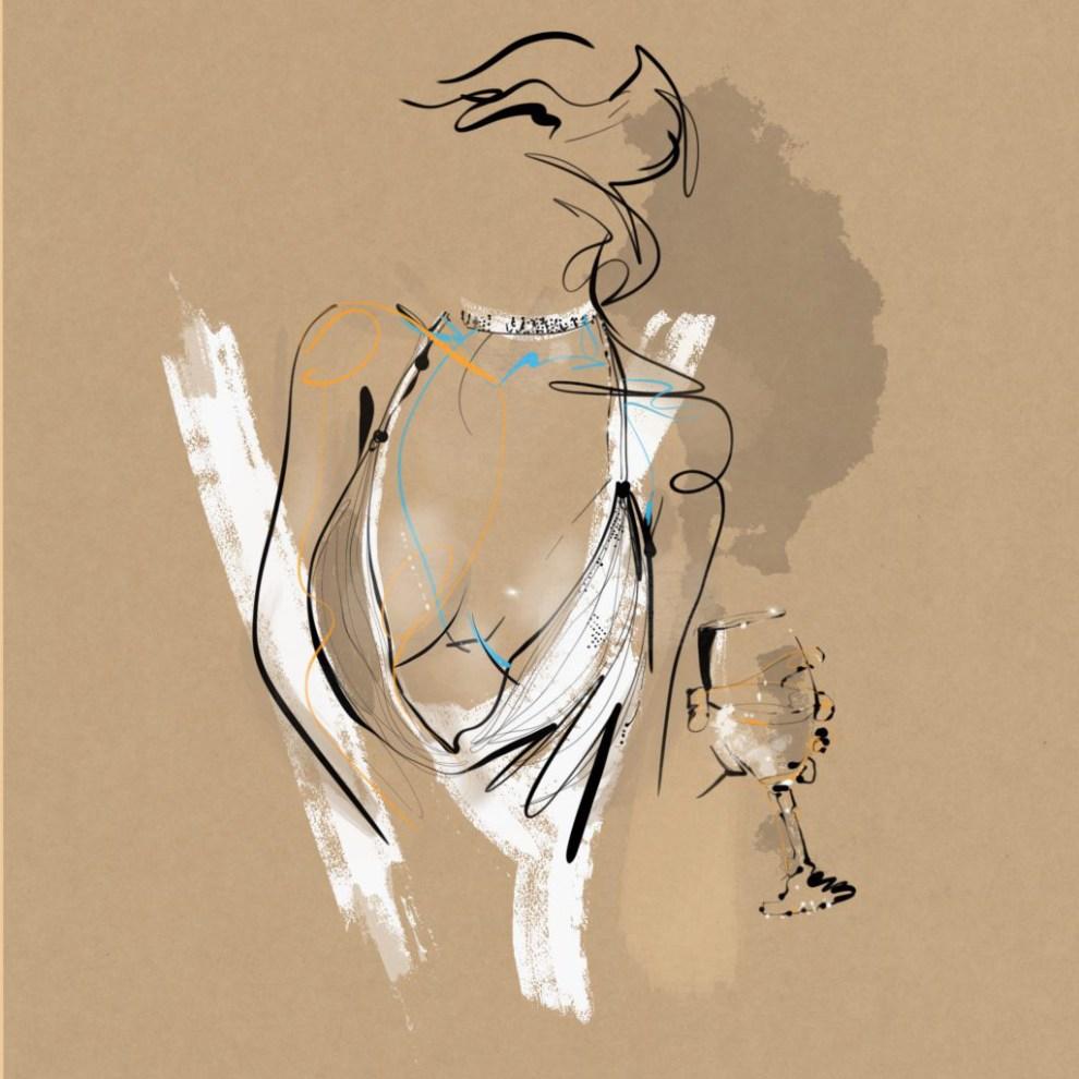 Illustration: an elegant woman take a drink