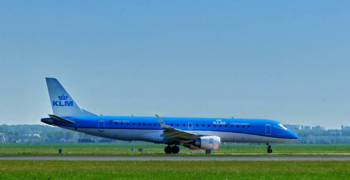 Blue KLM airplanes