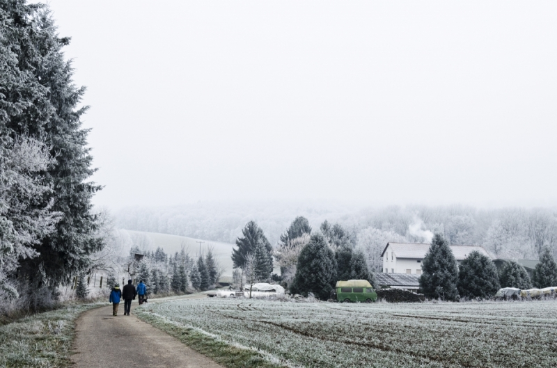 A winter walk in the frozen German countryside