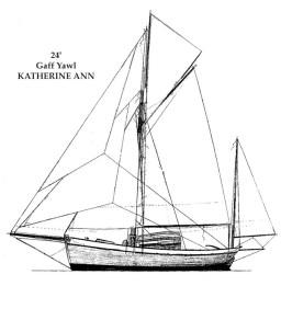 24' Cutter, Katherine Ann, sail plan
