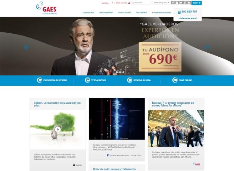 Muestra de la página principal de la web de GAES