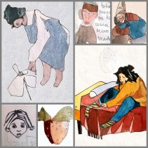 collage chica vistiéndose gris
