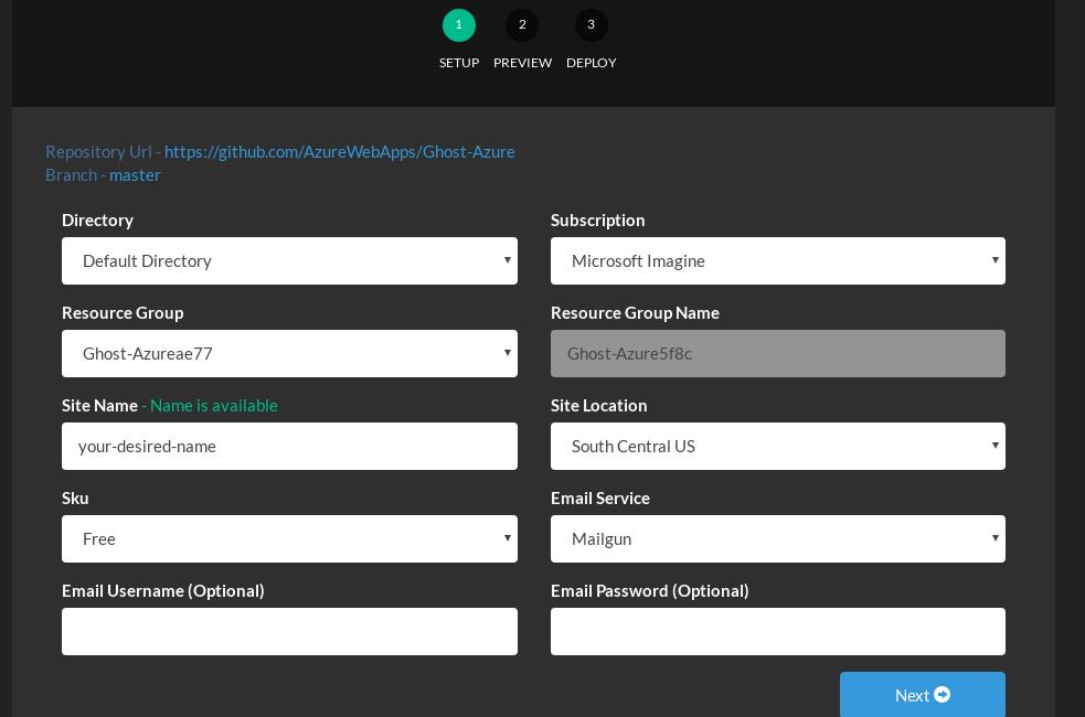 Setup Ghost via Azure Deploy tool