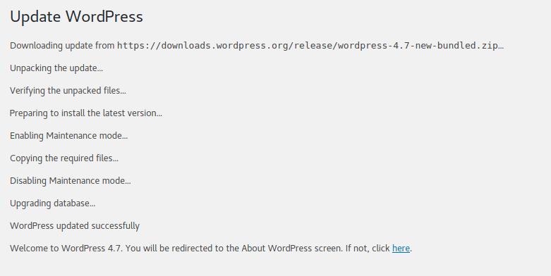 Update WordPress to version 4.7 Vaughn