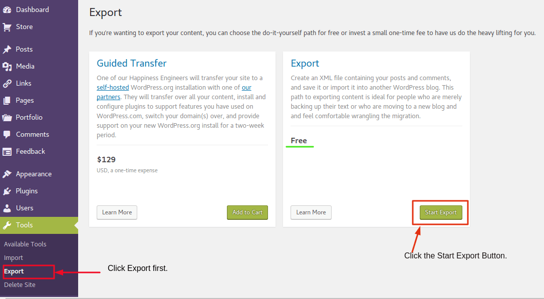 Export XML file from WordPress.com