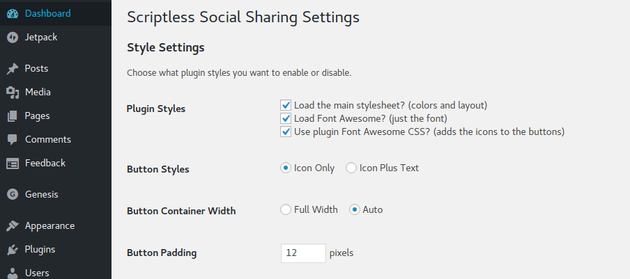 Scriptless Social Sharing Style Settings