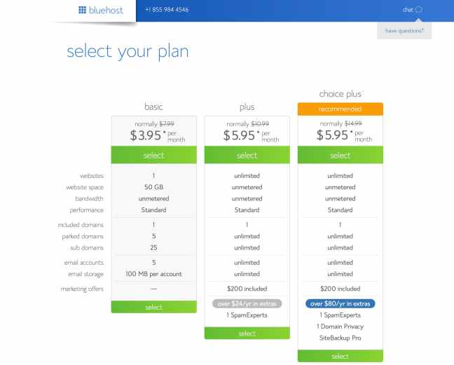 Bluehost Hosting Plans and Pricing