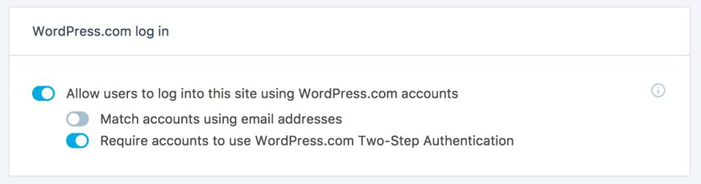 Jetpack 2 factor authentication (2FA) by WordPress.com