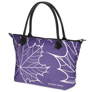 antony yorck shopper tasche maple leaf floral print style purple white 134327 02