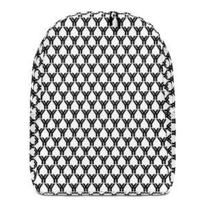 antony yorck rucksack fashion brand logo grid schwarz weiss extra fach laptop notebook 15 zoll plus geheimfach wasserfest ansicht front 5E85BEA19FA2C