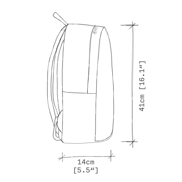 antony yorck rucksack backpack laptop waterproof hidden pocket dimensions side view schematic drawing 0003