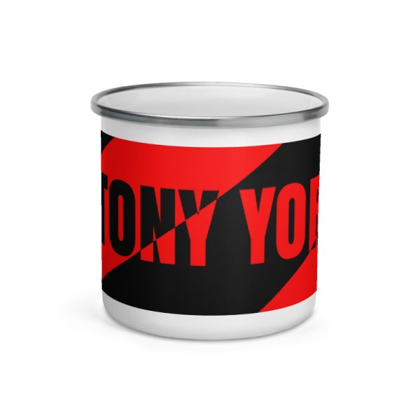 Antony Yorck • Emaille Becher YY brand black red stripes • Collection OBVIOUS 1 antony yorck enamel mug outdoor obvious stripes red black 0005
