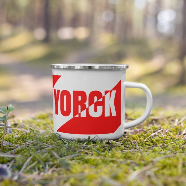 Antony Yorck • Emaille Becher YY brand red stripes • Collection OBVIOUS 5 antony yorck enamel mug outdoor obvious stripes red white 0004