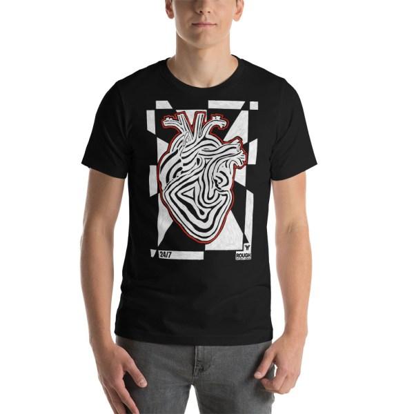 T-Shirt • Antony Yorck • Rough Design • Heart Black White Red 1 antony yorck t shirt rough design activwear heart black white women men 0003