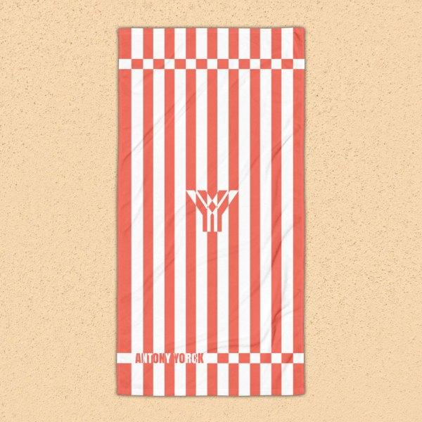 Antony Yorck • Strandtuch Badetuch Handtuch Saunatuch • coral / korall weiß schräg gestreift • collection OBVIOUS 1 antony yorck beach towel blanket badetuch strandtuch stripes coral white 0001