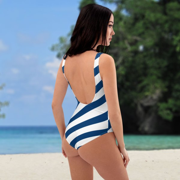 Antony Yorck • Badeanzug Damen blau weiß schräg gestreift • collection OBVIOUS 4 antony yorck one piece swimsuit badeanzug swimwear bechwear stripes blue white 0001a