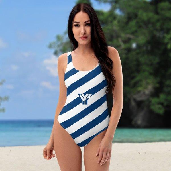 Antony Yorck • Badeanzug Damen blau weiß schräg gestreift • collection OBVIOUS 1 antony yorck one piece swimsuit badeanzug swimwear bechwear stripes blue white 0007a