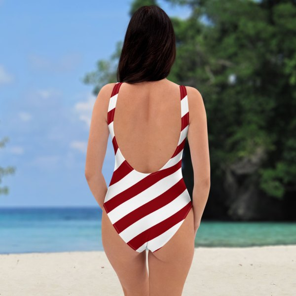 Antony Yorck • Badeanzug Damen cherry / kirschrot weiß schräg gestreift • collection OBVIOUS 3 antony yorck one piece swimsuit badeanzug swimwear bechwear stripes cherry red white 0014a