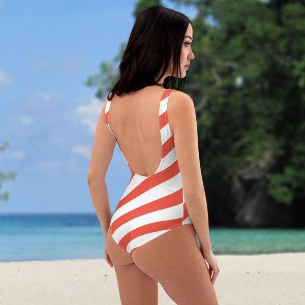 Badeanzug einteilig coral korall weiß schräg gestreift collection OBVIOUS 5 antony yorck one piece swimsuit badeanzug swimwear bechwear stripes coral white 0001a