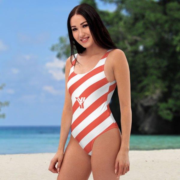 Badeanzug einteilig coral korall weiß schräg gestreift collection OBVIOUS 2 antony yorck one piece swimsuit badeanzug swimwear bechwear stripes coral white 0005a
