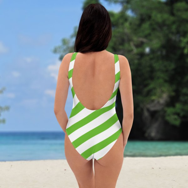 Antony Yorck • Badeanzug Damen grün weiß schräg gestreift • collection OBVIOUS 5 antony yorck one piece swimsuit badeanzug swimwear bechwear stripes green white 0013a