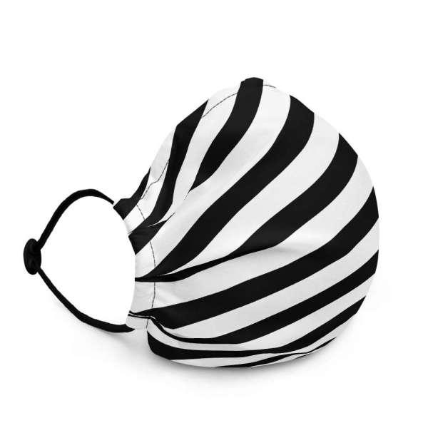 Antony Yorck Online Shop Microfaser Designer Gesichtsmaske schwarz weiss gestreift Mund-Nasen-Maske anpassbar an Nase verstellbare Ohrschlaufen0017