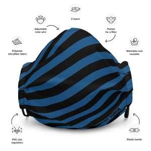 Antony Yorck Microfaser Designer Gesichtsmaske blau schwarz gestreift Mund-Nasen-Maske anpassbar an Nase verstellbare Ohrschlaufen 0003