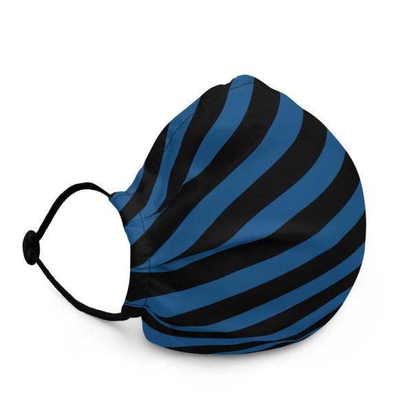 Antony Yorck Microfaser Designer Gesichtsmaske blau schwarz gestreift Mund-Nasen-Maske anpassbar an Nase verstellbare Ohrschlaufen 0017