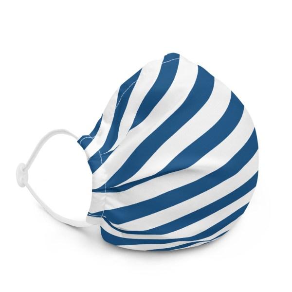 Antony Yorck Online Shop Microfaser Designer Gesichtsmaske blau weiss gestreift Mund-Nasen-Maske anpassbar an Nase verstellbare Ohrschlaufen 0017