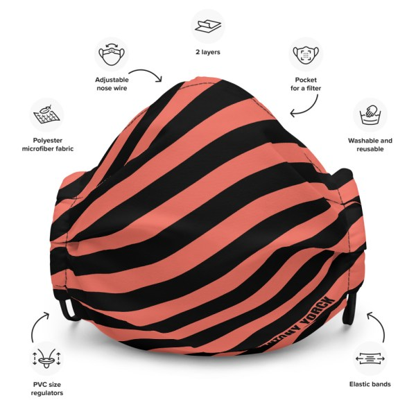 Antony Yorck Online Shop Microfaser Designer Gesichtsmaske coral schwarz gestreift Mund-Nasen-Maske anpassbar an Nase verstellbare Ohrschlaufen 0003