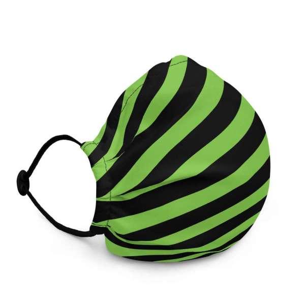 Antony Yorck Microfaser Designer Gesichtsmaske grün schwarz gestreift Mund-Nasen-Maske anpassbar an Nase verstellbare Ohrschlaufen0063