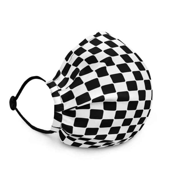 Antony Yorck Microfaser Designer Gesichtsmaske Checkers schwarz weiss Mund-Nasen-Maske anpassbar an Nase verstellbare Ohrschlaufen0017