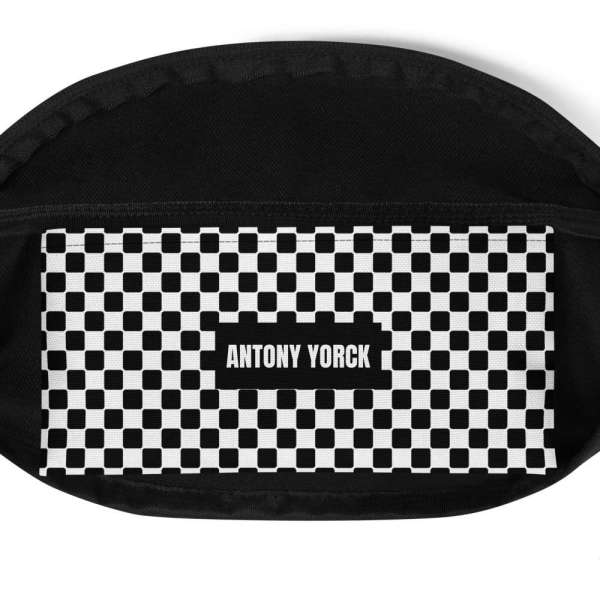 Antony Yorck • Gürteltasche • Fanny Pack • black and white checkers 5 mockup e3fb5b98