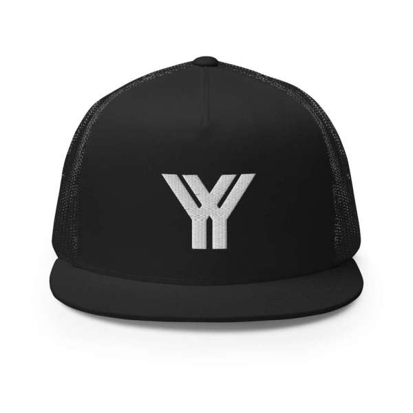 trucker cap snapback cap black logo white high profile flat bill front view