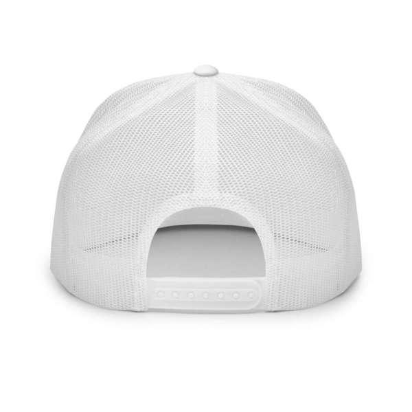 trucker cap snapback cap white logo black high profile flat bill back view