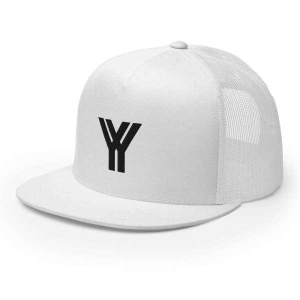 trucker cap snapback cap white logo black high profile flat bill side view