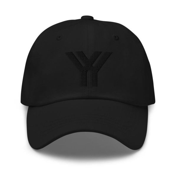 dad cap strapback cap black yy black low profile curved visor front view