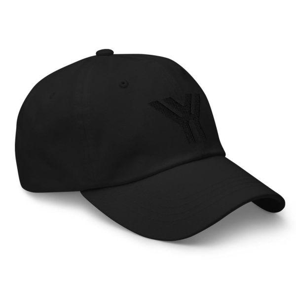 dad cap strapback cap black yy black low profile curved visor side view right
