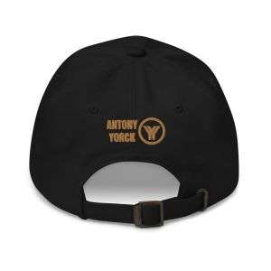 dad cap strapback cap black yy old gold low profile curved visor back view